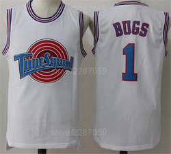 Ediwallen Tune Squad 1 Bugs Bunny Jersey Men White Sleeveless Looney Tunes Basketball Jerseys All Stitched Excellent Quality
