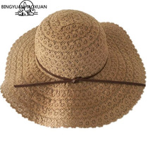BINGYUANHAOXUAN Summer Sun Hats For Women Lace Cotton soft Big Fashion Design Beach Hat Foldable Brimmed Straw