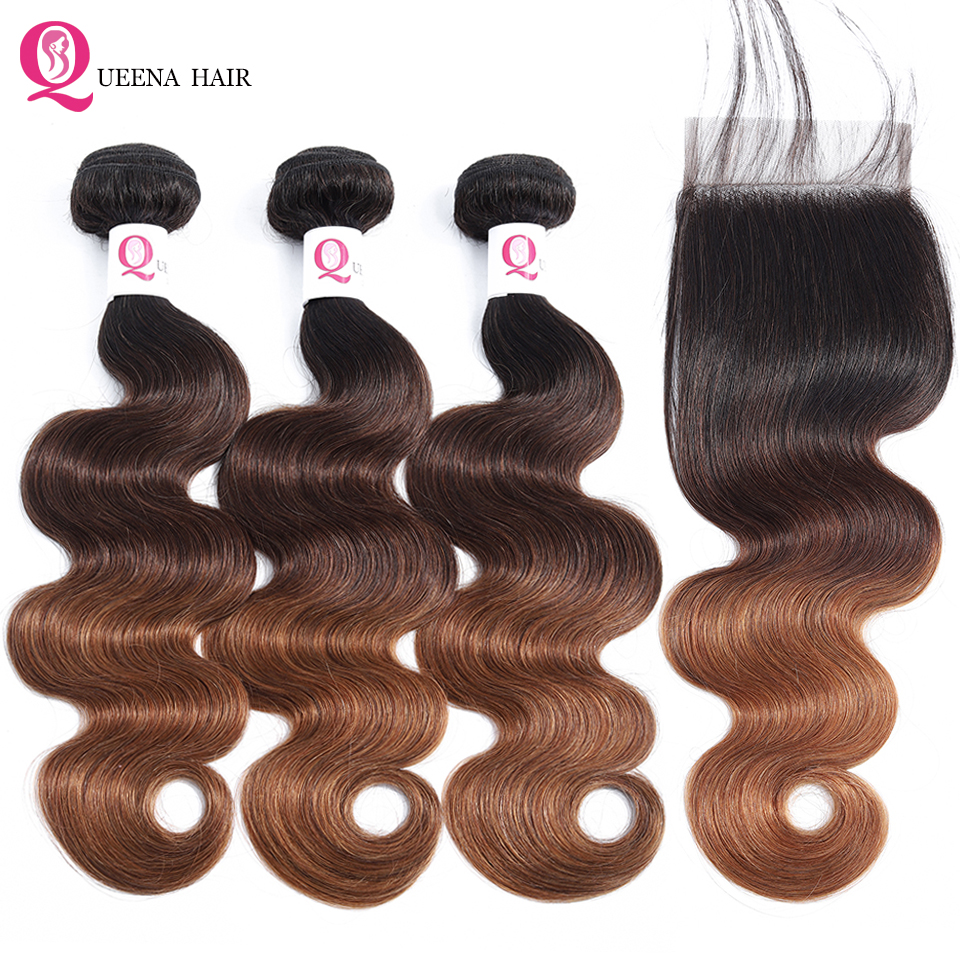 Ombre Body Wave Hair Bundles With Lace Closure 1B/4/30 Three Tone Color Ombre Brazilian Human Hair Weave 3 Bundles With Closure