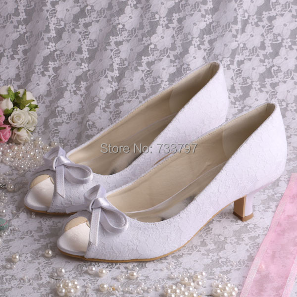 Wedopus Bridal Shoes Lace White Wedding Shoes Low Heel Peep Toe Bow Heels Custom Made