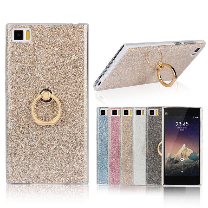 For Xiaomi Mi 3 Case 5.0 inch Transparent Soft TPU Case Glitter Metal Ring back