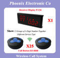 Digital Pager System Calls of Wireless Calling System 20 With 25 Buzzer Button H3-BBB 1 Wireless Display P-236 DHL Free Shipping