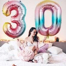 32inch 무지개 빛깔의 무지개 색 번호 호일 풍선 0-9 년 생일 축하 파티 장식 kid baloons birthday balo