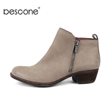 BESCONE Stylish Round Toe Solid Women Ankle Boots Casual Zip Square Heel Shoes Basic Handmade 3.5 cm Med Ladies BY33