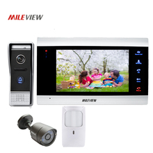 Free Shipping 800TVL 7″ Screen Video Intercom Door Phone Record Kit 110 View Angle Door Camera CCTV PIR Motion Detection Alarm