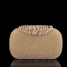 Neue Sowohl Side Goldenen Blume Kristall Abendtasche Clutch Taschen Gehobenen Styling Tageskupplungen Dame Hochzeit Bankett Handtasche