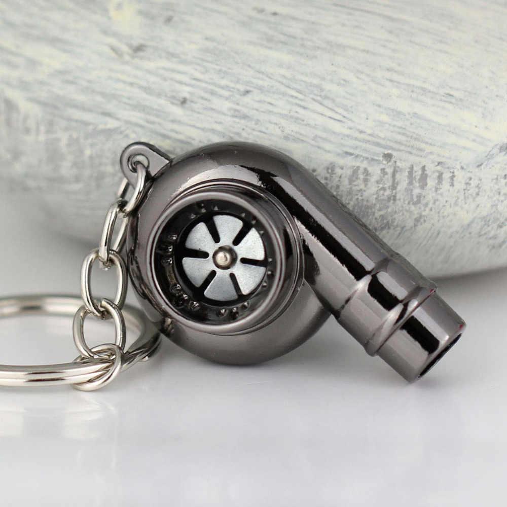 Llaveros Turbo de sonido de silbato Real que giran el modelo de pieza automática turbocompresor turbina llavero