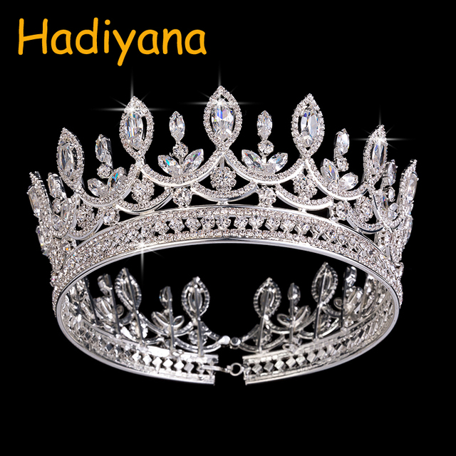 Hadiyana New Bride Retro Crown Copper CZ Bright Rhinestone Wedding Accessories Princess Hair A Big Full Crowns Tiaras BC3684