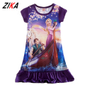 ZiKa Summer Princess Dress Elsa Anna Costume New Sofia Rapunzel Short Sleeve Nightdress Sleep Wear Girl Party Dress