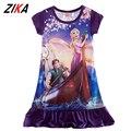 ZiKa de Verão Vestido de Princesa Rapunzel Traje New Sofia Elsa Anna Manga Curta Sono Camisola do Desgaste Da Menina Vestido de Festa