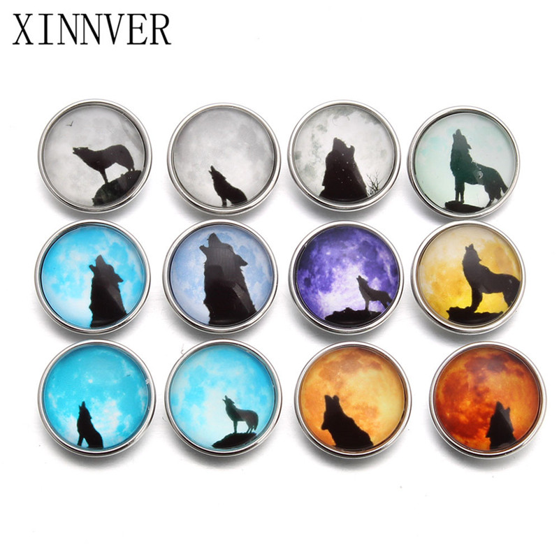 10pcs/lot New Snap Jewelry Wolf Moon Glass Charms Snap Button For 18mm Diy Bracelet Button Jewelry Bracelets & Bangles