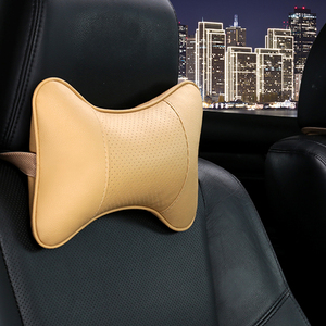 Image 4 - Car Neck Pillows 2 sides Pu Leather head support protector black/red universal headrest backrest cushion easy install and clean