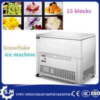 15 blocks stainless steel electric snowflake continuous ice shaving maker for flake snow making