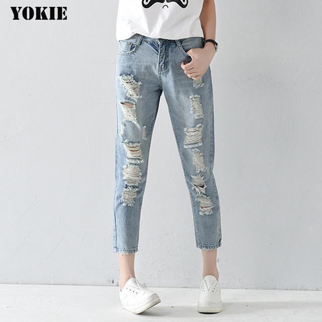 Plus size 25-32 Buraco rasgado calças de brim das mulheres harem pants calças soltas tornozelo-comprimento Namorados Para A mulher Das Senhoras jeans skinny