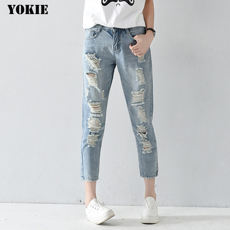 Plus size 25-32 Hole ripped jeans women harem pants loose ankle-length pants Boy