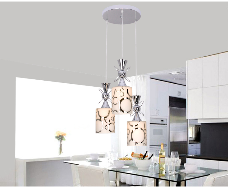 Creative dining room three modern minimalist 1/3 heads lamps fashion glass pendant light dining room LED lamp lighting