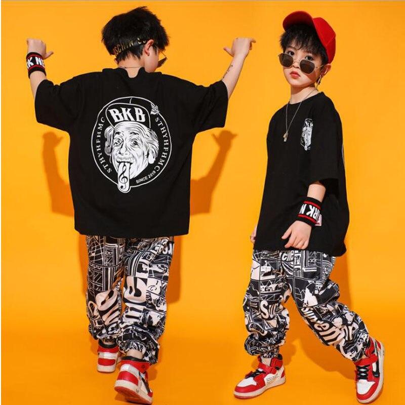 Kid Casual T Shirt Top Sport Jogger Pants Hip Hop Clothing Clothes for Girls Boys Dance Costume Ballroom Dancing Streetwear