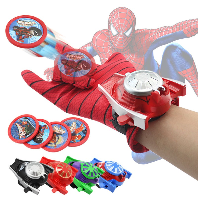 New Spiderman Superhero Glove Laucher Props Captain America Hulk Ironman Avengers Boys Kids Party Cosplay Glove Prop Toy Gifts