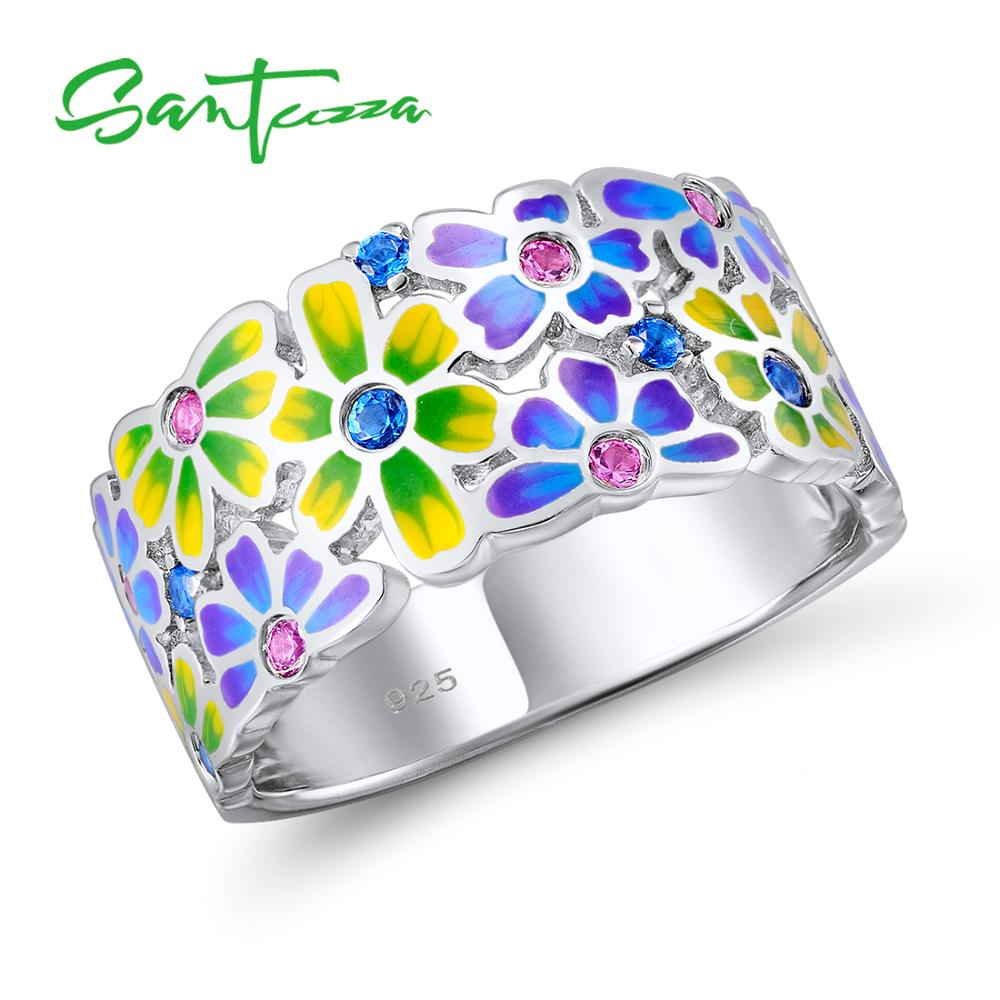 SANTUZZA Silver Ring For Women 925 Sterling Silver Fashion Rings for Women 2017 Cubic Zirconia Ringen Party Jewelry Enamel