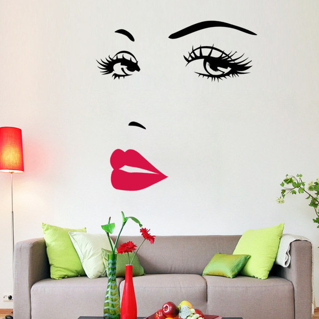 Hot Pink Lips Quotes Salon Girl Face Wall Stickers Vinyl Living Room Sofa  Background Decoration Interior