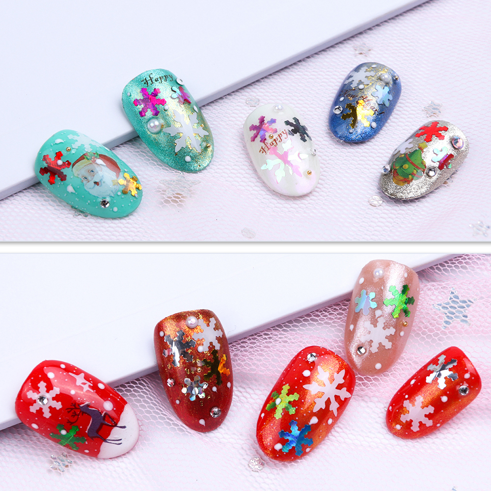 Image 2 - 1 Box Christmas Nail Sequins Glitter 3D Nail Art Glitter Gel Holographic Laser Snowflakes AB Silver Manicure Decoration TRX1 30-in Nail Glitter from Beauty & Health