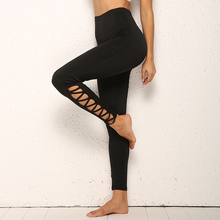 High Waist Fitness Leggings New Women Solid Black Yoga Pants Sexy Calf Bandage Gym For Mujer Hips Push Up