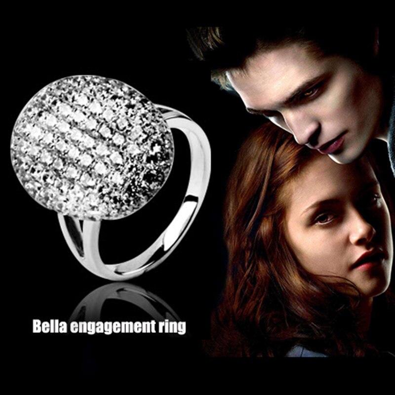 Charm Vampire Twilight Bella Crystal Ring Replica Engagement Wedding Ring 925 Silver Jewelry Valentine Gift