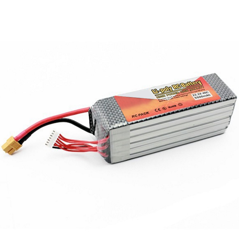Li-polymer Power Lipo Battery 22.2V 5500mAh 40C XT60 Plug For RC Quadcopter FPV Multicopter Model Parts Drone Bateria lion power li po 11 1v 5300mah 40c high capacity lithium polymer battery for rc heli cars truck r c model toy free shipping