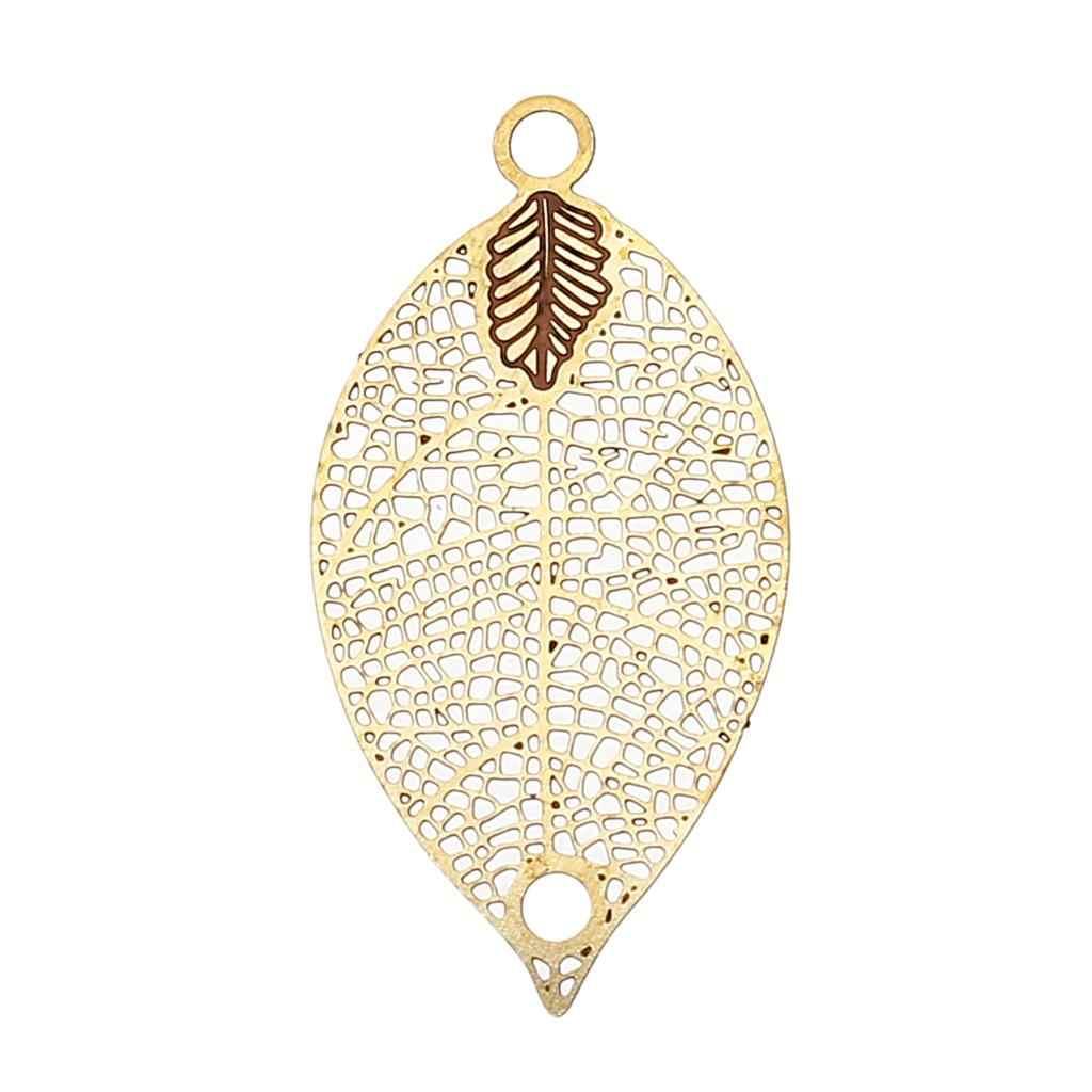 """DoreenBeads cobre Blanco/latón conectores joyas hallazgos hoja latón tono blanco 31mm (1 2/8 """") x 16mm (5/8""""), agujero: 2mm 4 piezas"""