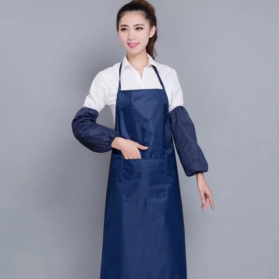 Взрослый Фартук в Корейском стиле, кухонный водонепроницаемый фартук, водонепроницаемый фартук для дома, кухни, ресторана, нагрудник, карманное кулинарное платье S5 - Цвет: Синий