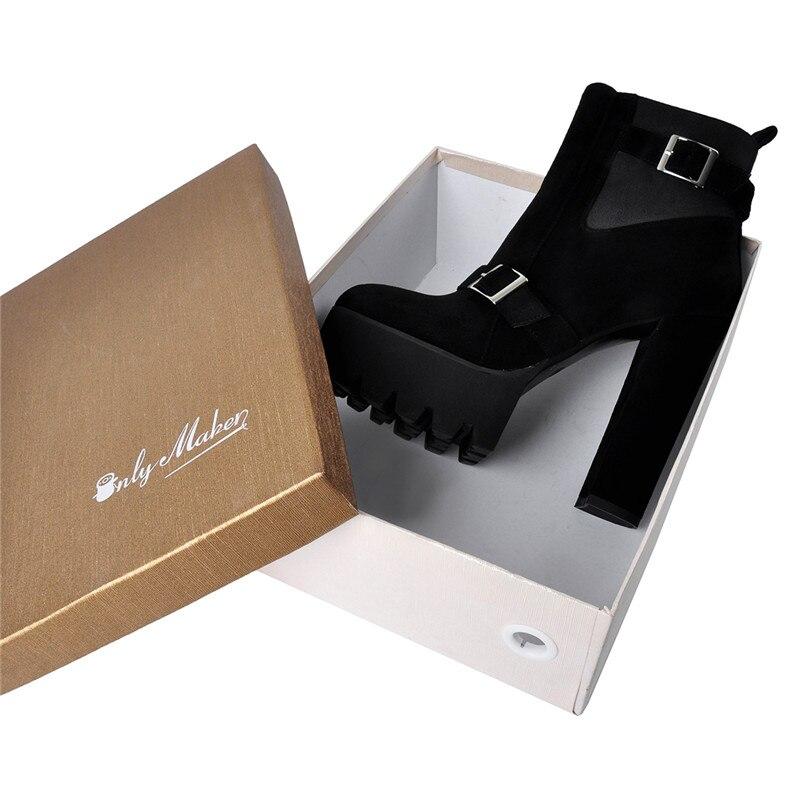 Ayakk.'ten Ayak Bileği Çizmeler'de Onlymaker Kış Platformu Akın yarım çizmeler kalın yüksek topuk Toka Kayış kadınlar için artı boyutu us5 ~ us13 için bayanlar patik'da  Grup 1