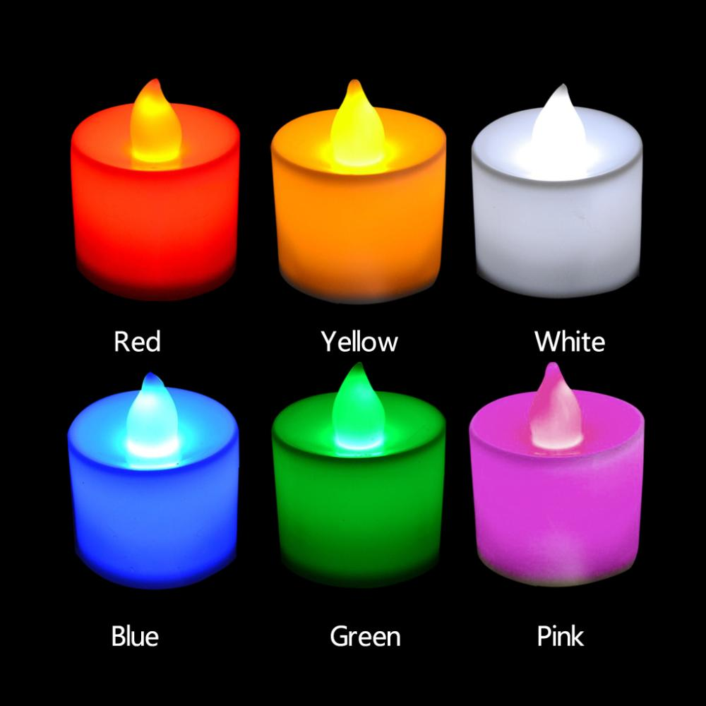 5pcs Conveniente útil 6 colores en forma de vela LED Fliker Flameless Candle Light para banquete de boda