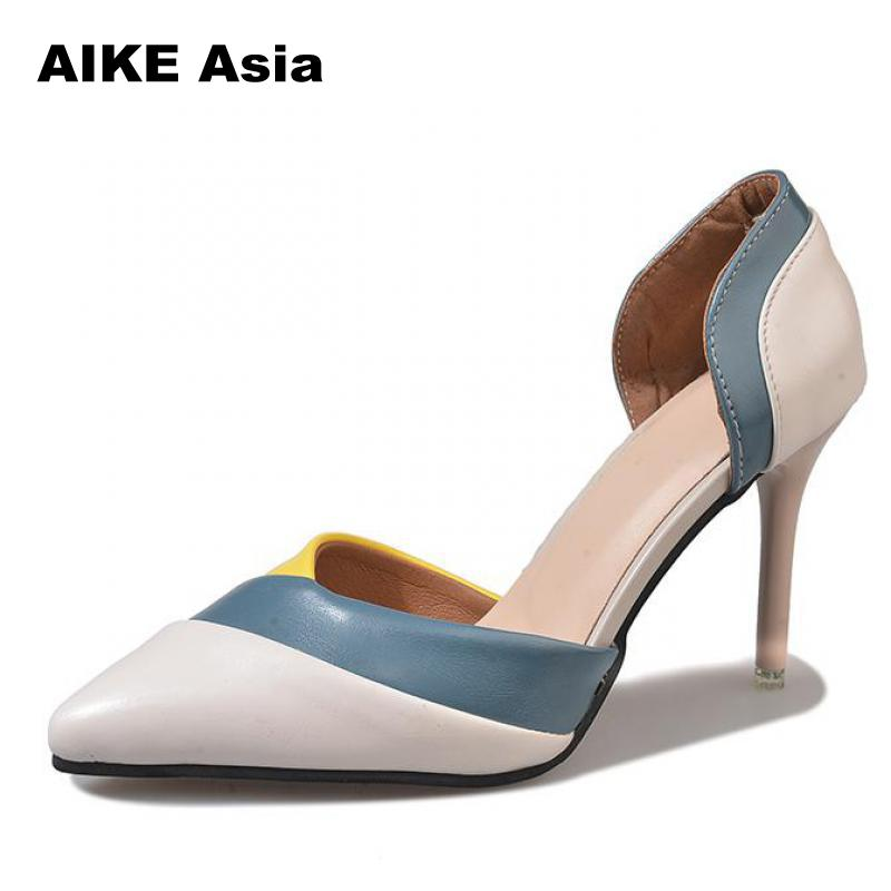 HOT Summer Brand Women Pumps Sexy High Heels Pointed Toe Black Red Office Dress Party Side hollow Colorblock 2018