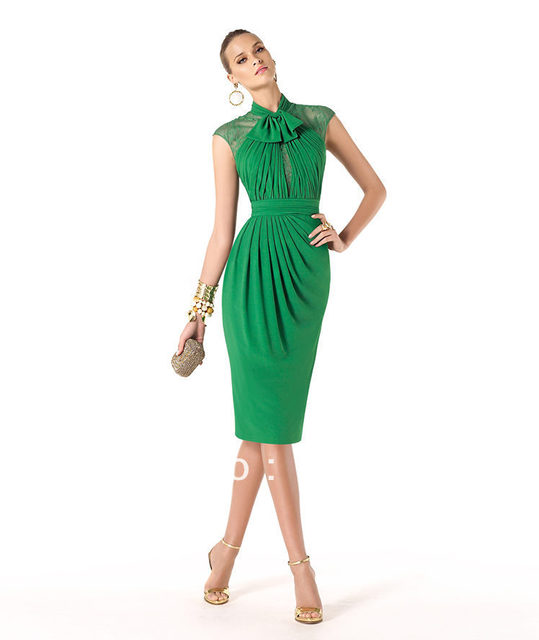 Green Unique Cocktail Dresses Chiffon 2014 New Arrival Pleat with ...