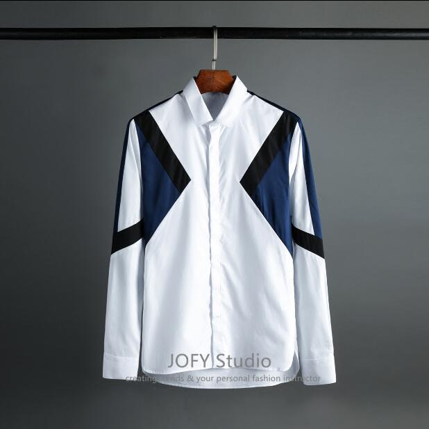Chemise homme noir et bleu couture tissu court de luxe chanteur scène mode chemise hommes bureau affaires décontracté chemise