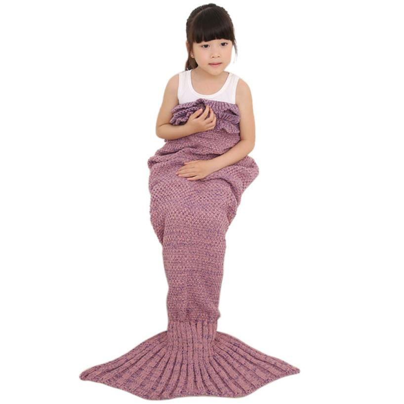 A-5 Knitted Mermaid Tail Blanket Handmade Crochet Children Throw Bed Wrap Sleeping Bag levert dropship jun15