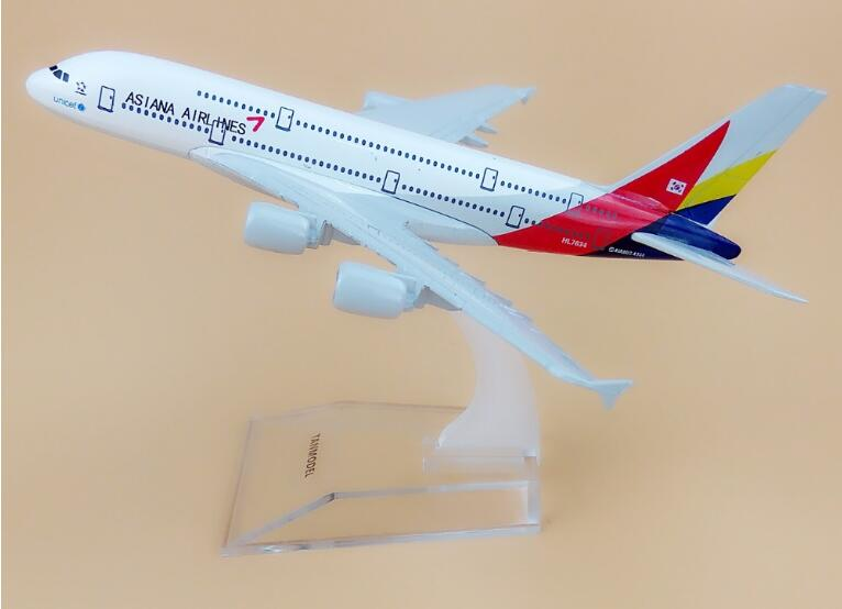 Flypassagerfly model A380 Asiana Airlines fly 16cm Legering simuleringsfly model til børn legetøj Jul gave