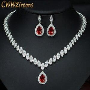 Image 1 - CWWZircons circonita cúbica de gota de agua nigeriana, cristales rojos, conjuntos de joyería para regalo de boda, para damas de honor, T110
