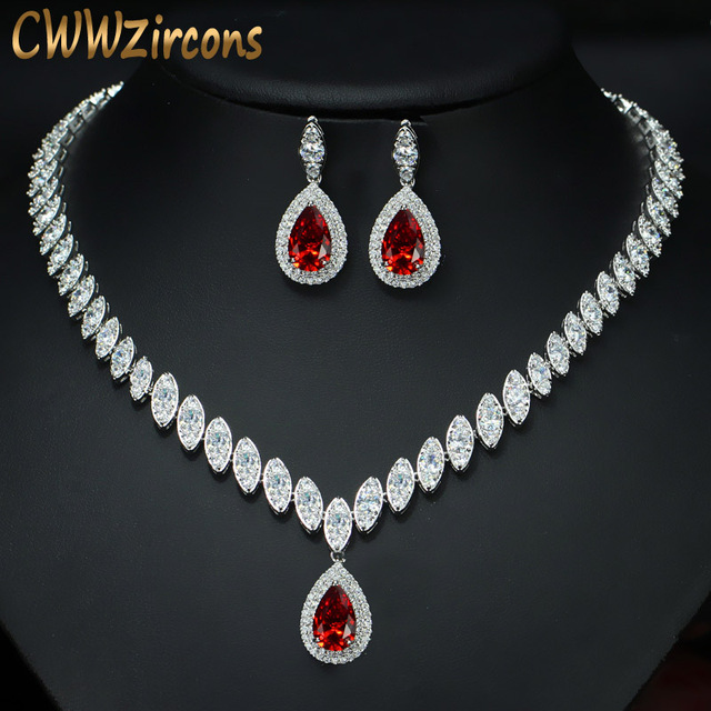CWWZircons circonita cúbica de gota de agua nigeriana, cristales rojos, conjuntos de joyería para regalo de boda, para damas de honor, T110