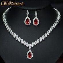 Cwwzircons nigeriano grande gota de água zircônia cúbica definir cristal vermelho casamento nupcial conjuntos de jóias presentes para damas de honra t110