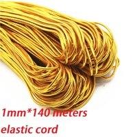 1 мм Золотой Эластичный банджи шнура Круглый витой строка веревка 140 м/roll DIY шнуры для ювелирных изделий Поиск одежда бирка