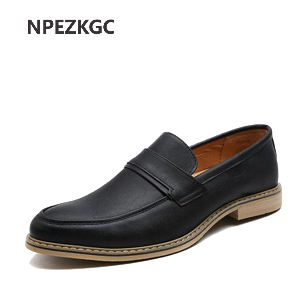NPEZKGC Brand Men Shoes 2017 New PU Leather Men's Flat Oxford Casual Shoes Business Dress Flats Loafers zapatos hombre leather casual shoes zapatillas hombre casual sapatos business shoes oxford flats hand made man shoe free shipping sv comfort
