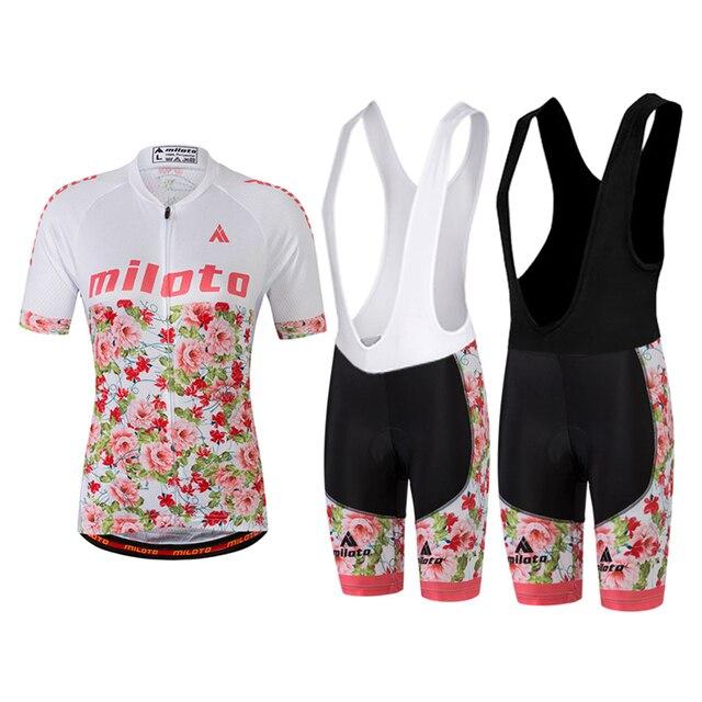 70e3d9fc2 Pink Flower Womens Cycling Clothing Short Sleeve Bike Jersey   MTB Bib  Shorts   Short Tights Set GEL Padded S-5XL Plus Size