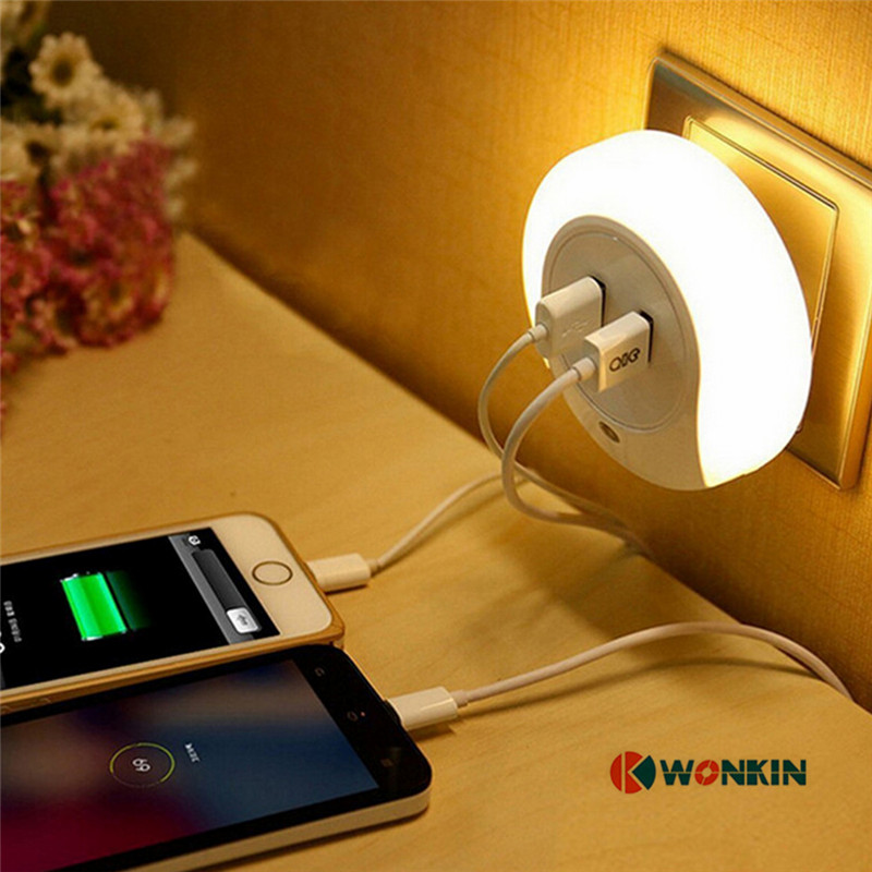 LED Night Light lamp with 2 USB Port for Mobile Phone Charger Light Sensor Atmosphere Lamp for Bedroom Living Room Warm White mini usb light 3 led white light small lamp night light mobile power usb light