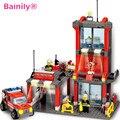 [Bainily] Estación de Bomberos Bombero Juguetes Educativos Bloques de Construcción de Juguetes de La Ciudad de Ladrillos Niños Juguetes de Construcción compatibles legoe Brinquedo