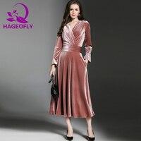 Autumn Vintage Pink Velvet Dress Dark Blue V neck Slim A line Long Midi Dress Long Sleeve Party Runway ladies Women Dress New