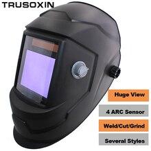 Fire skull Pro Sexing 4 arc sensor solar auto darken/shading grinding tig big view welding helmet/welder goggle/mask/cap
