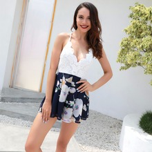 Summer new fashion personality temperament female jumpsuit loose sling sexy stitching casual print womens