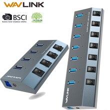 Wavlink USB Hub 3.0 High Speed 4/7 Poorten Micro USB 3.0 Hub Splitter On/Off Schakelaar Met Power Adapter voor MacBook Pro Laptop PC