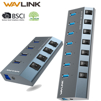 Wavlink USB Hub 3.0 High Speed 4 Ports 7 Ports USB 3.0 Hub Splitter Aluminum On/Off Switch Power Adapter for MacBook Laptop PC